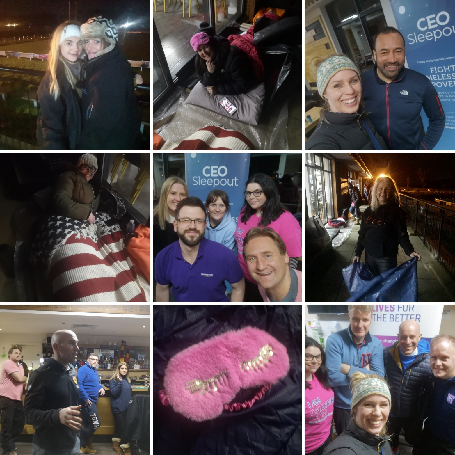 Images of participants in their sleeping out gear